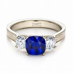 women39s blue sapphire diamond and mokume engagement ring With blue diamond wedding rings for women