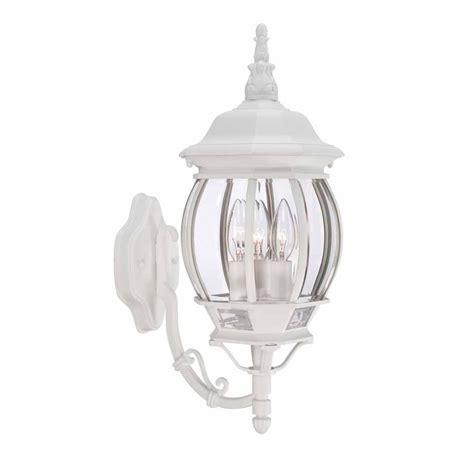 hton bay 3 light white outdoor wall lantern hb7028 06 the home depot