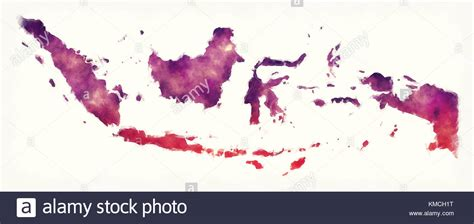 indonesia watercolor map  front   white background