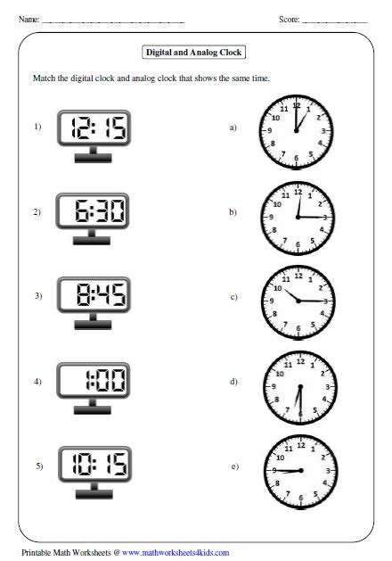 All Kinds Of Time Worksheets Matching Analog And Digital Clock  Teach  Pinterest Digital