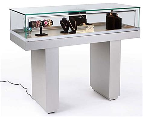 Sit Down Jewelry Case  Hydraulic Lift Opening & Silver Base