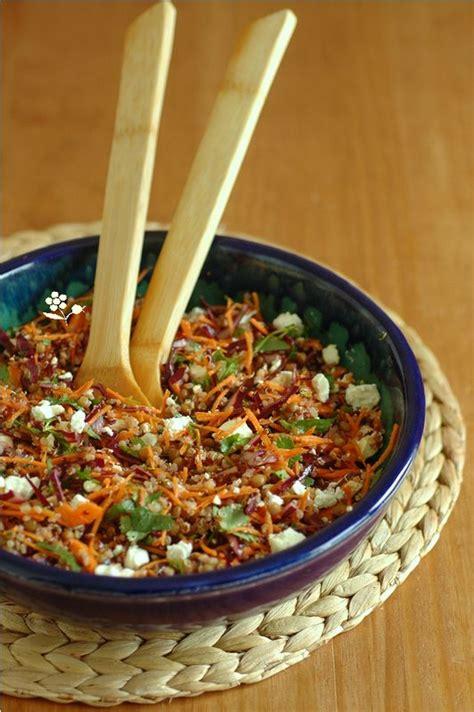 recette de cuisine minceur salade quinoa lentilles chou carotte coriandre