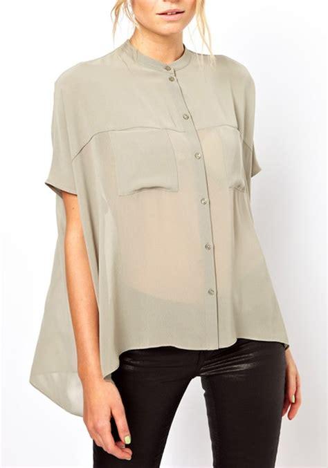 chiffon blouses grey irregular swallowtail band collar chiffon blouse