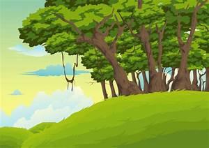 Jungle Trees Cartoon Background
