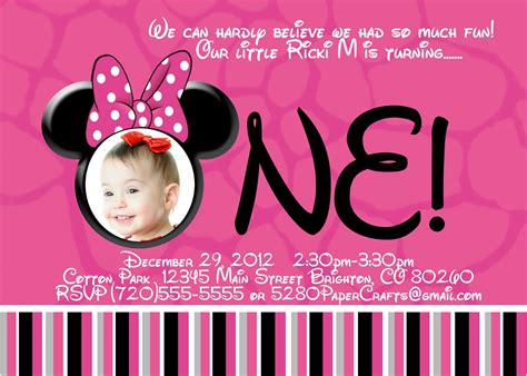 Template Free Minnie Mouse First Birthday Party Invitations With