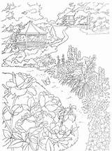 Coloring Country Scenes Adults Gazebo Scene Dover Colouring Adult Publications Printable Paint Dreamy Drawings Countryside Pencil Line Sheets Fullcoloring Welcome sketch template