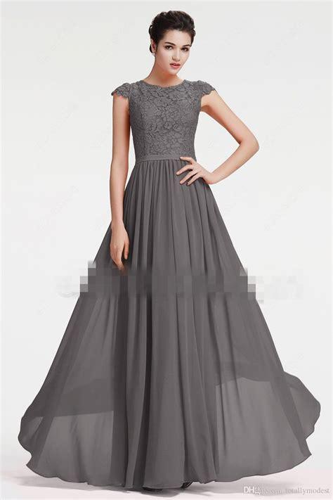 beach long modest bridesmaid dresses  cap sleeves grey