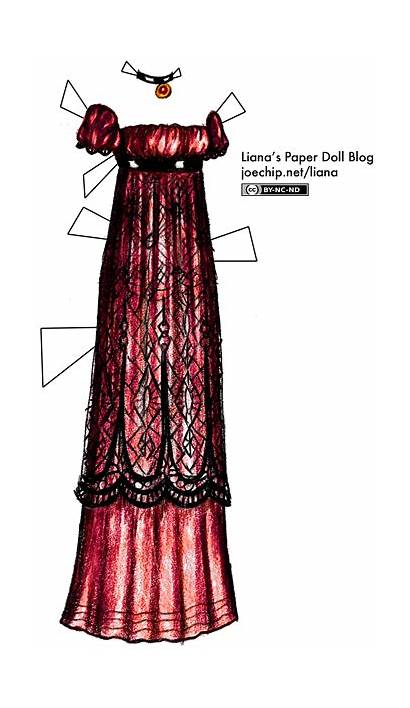 Empire Waist Lace Purple Gowns Paper Dolls