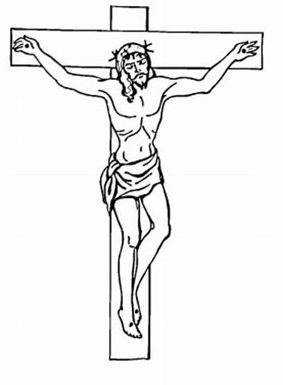 Jesus Cross Coloring Pages Printable Simple Pencil