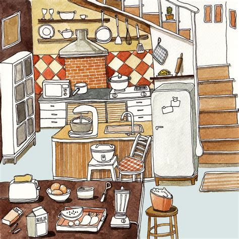 cute puffy cartoon kitchen illustration  suntur brown