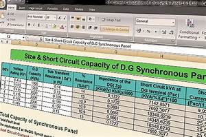 Spreadsheet To Calculate Short Circuit Capacity Of Diesel