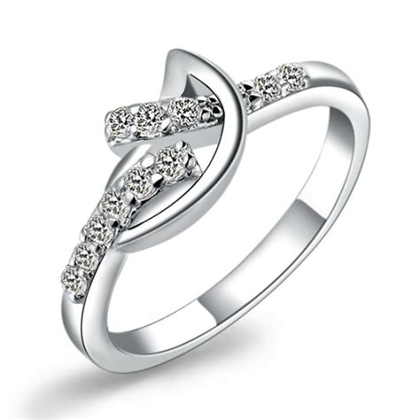 silver design engagement ring with zircon for jewelry fashion bands best