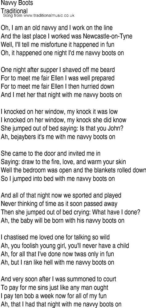 irish  song  ballad lyrics  navvy boots