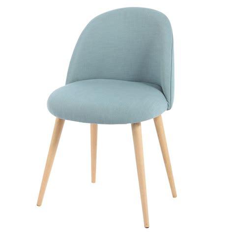 chaise en tissu chaise vintage en tissu et bouleau massif bleue mauricette