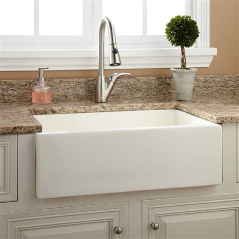 kitchens with farm sinks 30 quot risinger reversible fireclay farmhouse sink smooth 6617