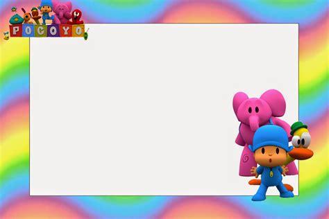 pocoyo with rainbow background free printable invitations oh my baby