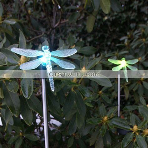 set of 2 garden color changing dragonfly solar stake