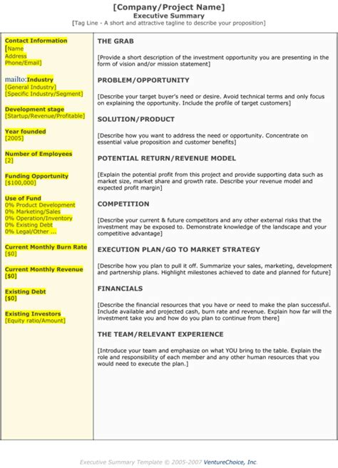 executive summary templates  word