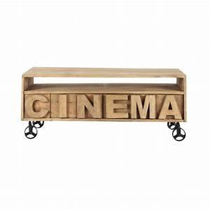 Meuble Tv Manguier : meuble tv roulettes en manguier massif l 120 cm alphabet maisons du monde ~ Teatrodelosmanantiales.com Idées de Décoration