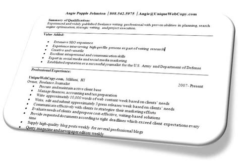 How To List Freelance Writing On Resume by Freelance Writer Resumes Freelance Writing Tips