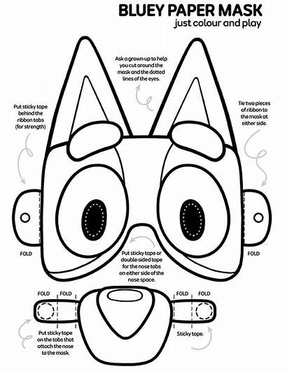 Bluey Coloring Pages Colour Mask Colouring Printable