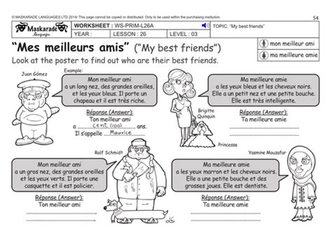 german ks2 level 3 ks3 year 7 describing your friends