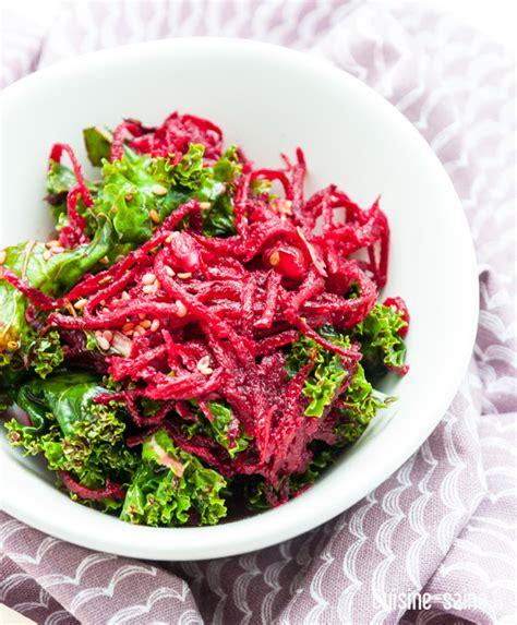 cuisine simple et saine recette détox salade de chou kale betterave et grenade