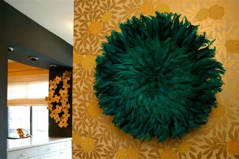 Designed by youssef sayarh and alan wisniewski. Laura Day- love this feather wall art! and the wallpaper contrast | Feather wall art, Room, Decor