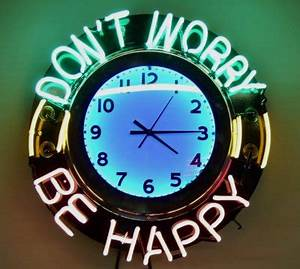 Don t Worry Be Happy Neon clock Neon Pinterest