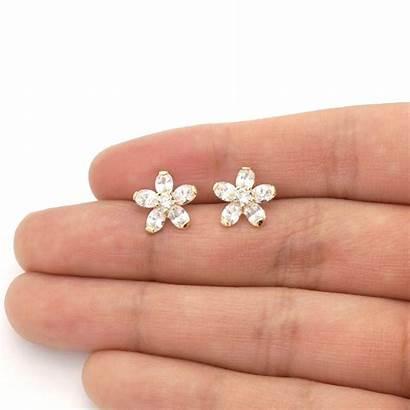 Earrings Diamond Gold Stud Flower 14k Screw