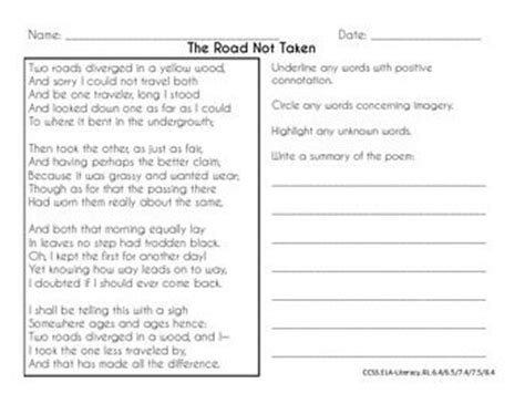 common core poetry practice grades 6 8 the road not taken