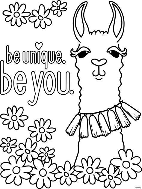 Lujo Llama Llama Para Colorear Festooning Enmarcado Para