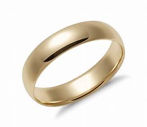 Mid weight comfort fit wedding band in 14k yellow gold for Wedding rings and bands