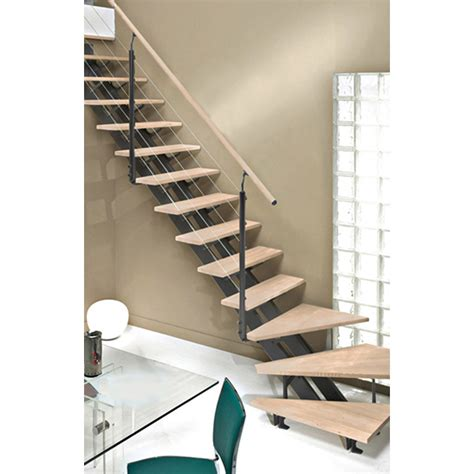 photo escalier quart tournant escalier quart tournant escatwin marches bois structure aluminium gris leroy merlin