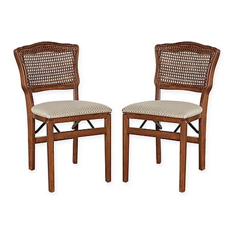 stakmore french cane  wood folding chairs set