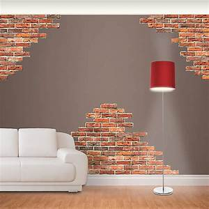 Horizontal brick wall accents decal fathead
