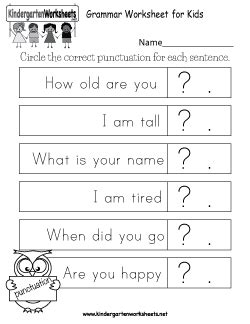 free grammar worksheets for kindergarten learning to correctly construct sentences