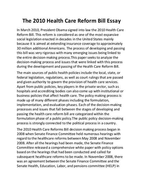 health care reform bill essay