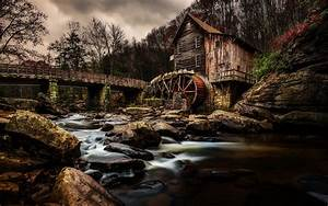 Autumn, Landscape, Old, Grist, Mill, Water, In, Babcock, State