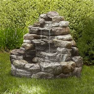 Garden, Oasis, Large, Lighted, Rock, Fountain