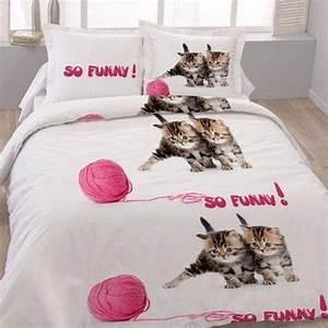 Housse De Couette Dorée : housse de couette 220x240 les chatons so funny les douces nuits de ma linge de maison ~ Teatrodelosmanantiales.com Idées de Décoration