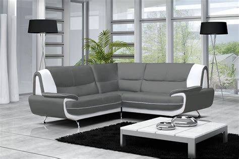 canapé noir et gris canapé moderne simili cuir réversible gris noir