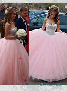 pd16092 pink sparkly silvery crystals princess ball gown With pink sparkly wedding dresses