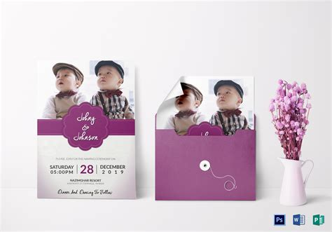 grand baby  ceremony invitation design template  psd