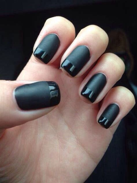 black gloss tipped manicure pictures   images
