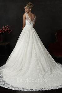 ball gown bateau neck v back vintage lace wedding dress With what to do with old wedding gowns