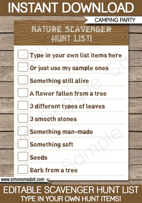 camping scavenger hunt list printable template