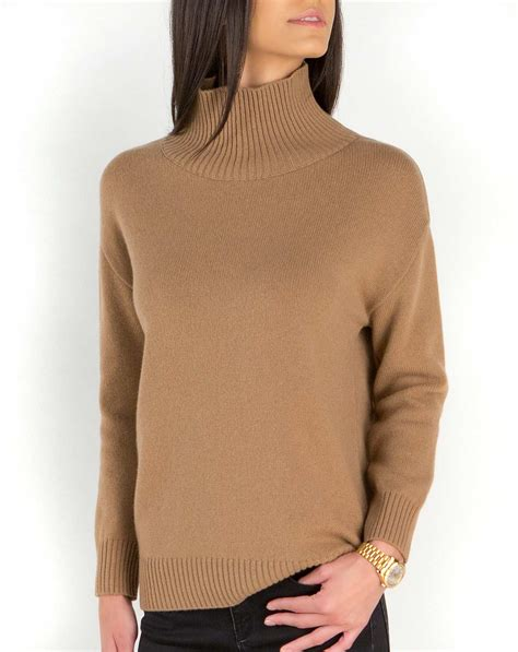 lambswool cashmere womens funnel neck sweater