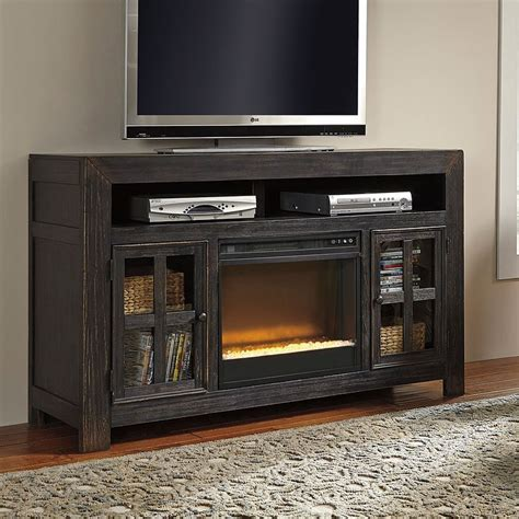 gavelston large tv stand  glass  stone fireplace tv