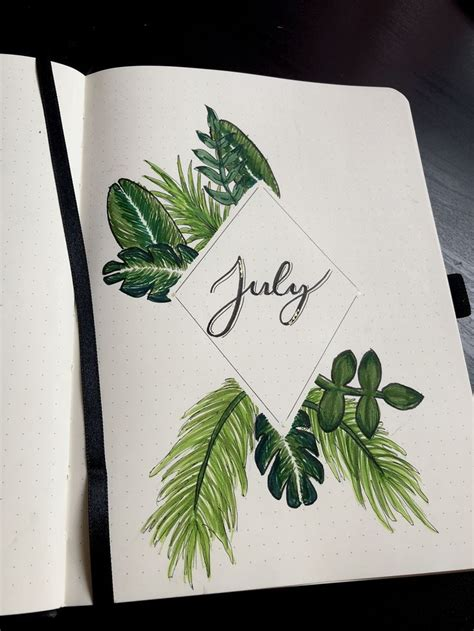 monthly spread tropical leaf themed cover